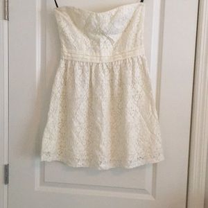 Forever 21 White Strapless Lace Dress
